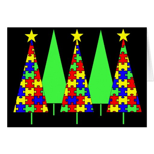 Christmas Trees - Puzzle Greeting Cards