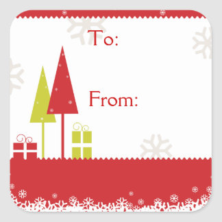 Christmas Trees Red Square Stickers