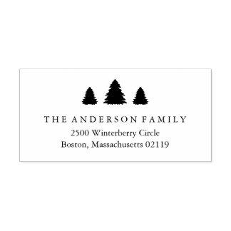 Christmas Trees Return Address Rubber Stamp