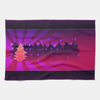 Christmas Trees Shades of Purple Tea Towel