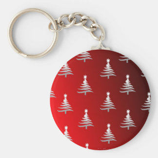 Christmas Trees Silver on Red Basic Round Button Key Ring
