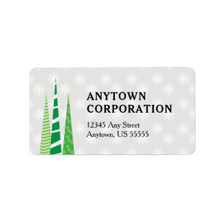 Christmas Trees & Snowflakes Business Label