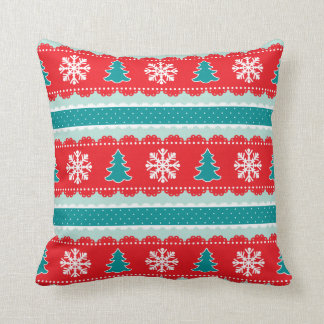 Christmas Trees Snowflakes Red Teal Pattern Cushion