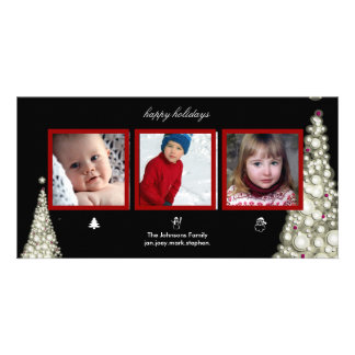 Christmas trees, snowman and santa photo cards