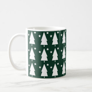 Christmas Trees & Stars | Festive Green Coffee Mug