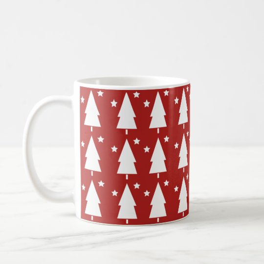 Christmas Trees & Stars | Red Coffee Mug