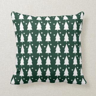 Christmas Trees & Stars Throw Pillow - Green