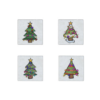 Christmas Trees Stone Magnet