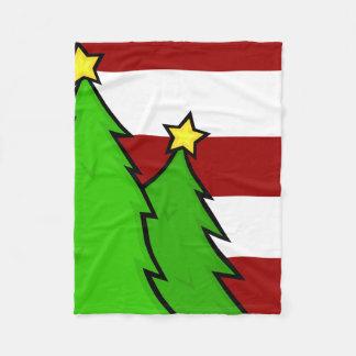 CHRISTMAS TREES & STRIPES HOLIDAY FLEECE BLANKET