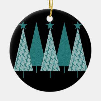 Christmas Trees - Teal Ribbon Ovarian Cancer Christmas Ornament