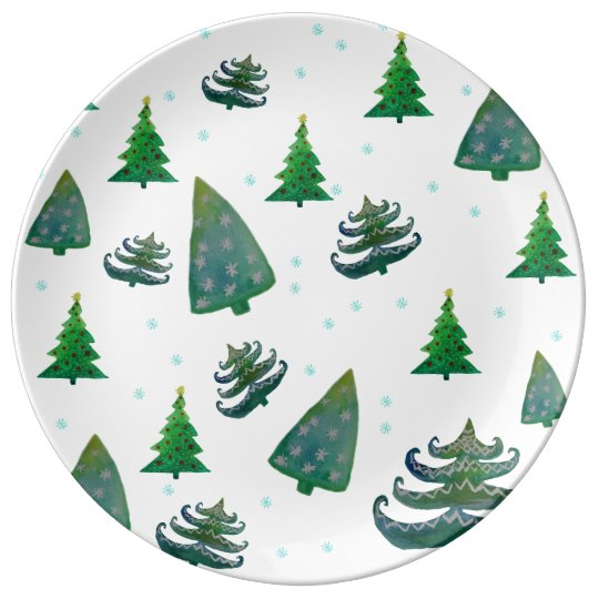 Christmas Trees Watercolor Art Plate