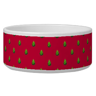 Christmas Trees with Customizable Background Pet Food Bowl