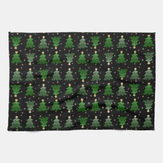Christmas Trees with Stars on Black Tea Towel