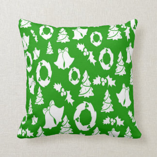 Christmas Trees Wreath Holly Bells Cushion