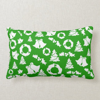 Christmas Trees Wreath Holly Bells Lumbar Cushion