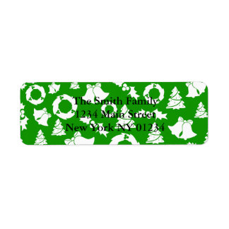 Christmas Trees Wreath Holly Bells Return Address Label