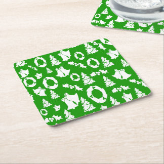 Christmas Trees Wreath Holly Bells Square Paper Coaster