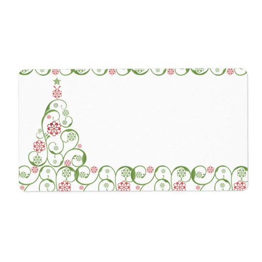 Christmas TreeSnowflake Swirl Christmas Gifts Tags Shipping Label