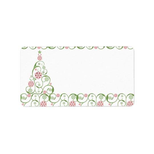 Christmas TreeSnowflake Swirl Christmas Label