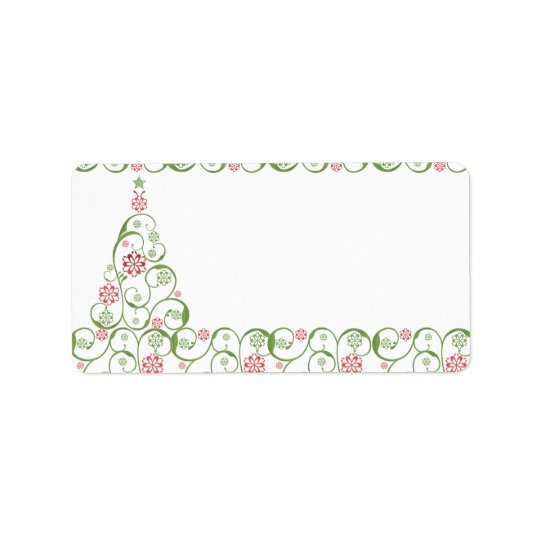Christmas TreeSnowflake Swirl Christmas Label Address Label
