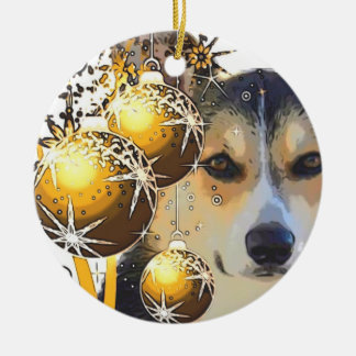 Christmas Tricolor Corgi with Bulbs Christmas Ornament