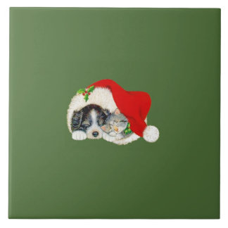 Christmas Trivet Puppy and Kitten Large Square Tile