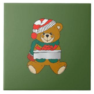 Christmas Trivet Teddy Bear Large Square Tile