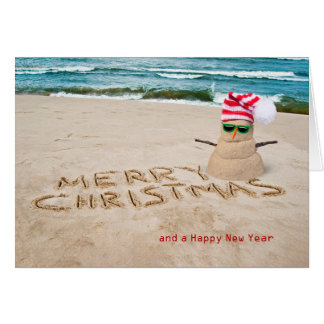 Christmas tropical beach snowman with hat greeting card