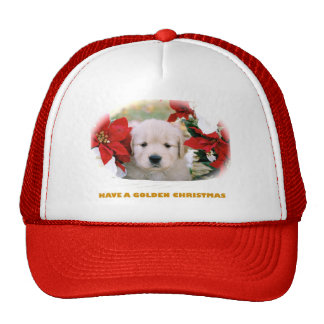 Christmas Truckers Cap, Golden Retriever Cap