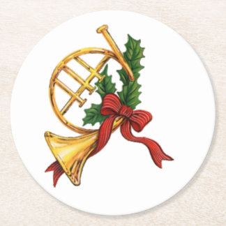 Christmas Trumpet Round Paper Coaster