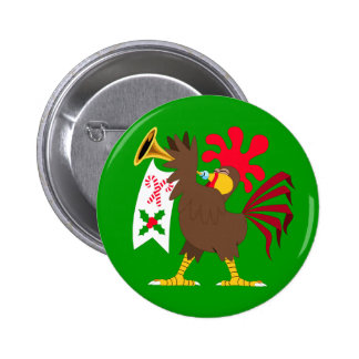 Christmas Trumpeting Rooster 6 Cm Round Badge