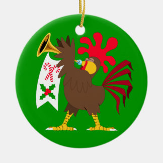 Christmas Trumpeting Rooster Christmas Ornament