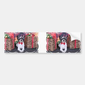 Christmas - Tucker - Yorkie X Bumper Sticker
