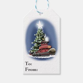 Christmas Tugboat gift tag