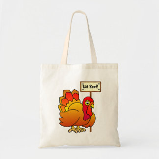 Christmas Turkey With 'Eat Beef' Sign Tote Bag