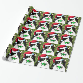 Christmas Tuxedo Cat Wrapping Paper