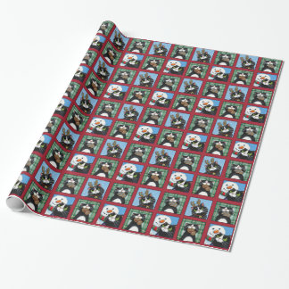 Christmas Tuxedo Cats, Snowmen and Gingerbread Men Wrapping Paper