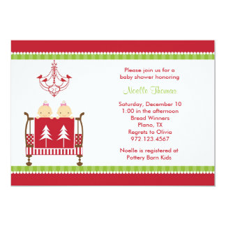 Christmas Twin Baby Shower Invitations