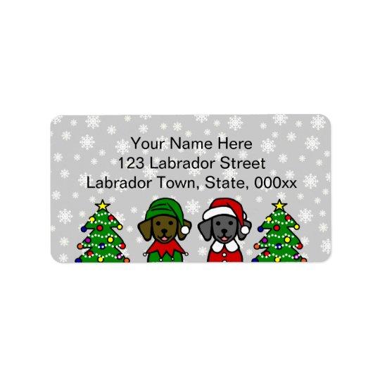 Christmas Twin Lab Puppies Address Label