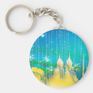 Christmas Twinkle Buildings Key Ring