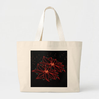 Christmas Two Poinsettias 2016 Large Tote Bag