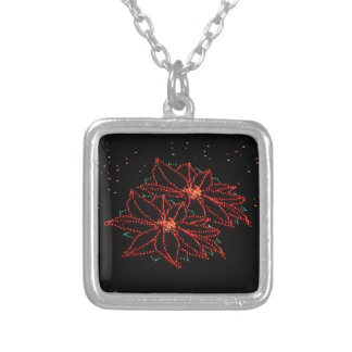 Christmas Two Poinsettias 2016 Silver Plated Necklace