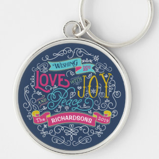 Christmas Typography Love Joy Peace Custom Banner Silver-Colored Round Key Ring