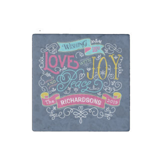 Christmas Typography Love Joy Peace Custom Banner Stone Magnet