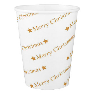 Christmas Typography Merry Christmas Pattern Paper Cup