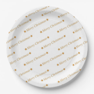 Christmas Typography Merry Christmas Pattern Paper Plate