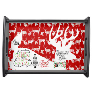 Christmas Typography Reindeer Red Serving Tray