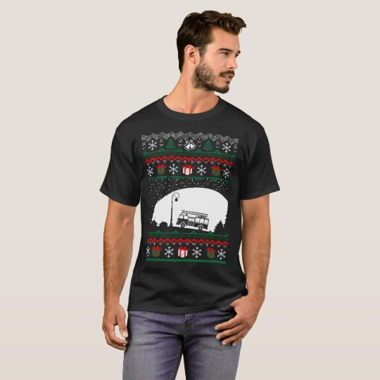 Christmas Ugly Sweater Firefighter Tshirt