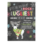 Christmas Ugly sweater party Chalkboard red green Card