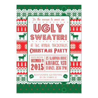 Christmas - Ugly Sweater - Tacky - Invitation